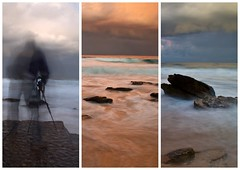 The Photographer and the long exposure version 1 (loobyloo55) Tags: longexposure sunset sea coast australia northernbeaches turimetta