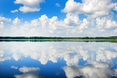 (Sameli) Tags: blue summer sky white lake reflection water clouds suomi finland landscape day cloudy evijärvi