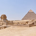 The Sphinx and the Pyramid of Chephren behind it (Identifiable because retains the