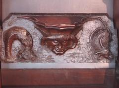 Demon Misericord, Stratford upon Avon (Aidan McRae Thomson) Tags: church medieval warwickshire stalls woodcarving stratforduponavon misericord
