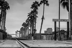 San Clemente pier train tracks (M Florendo) Tags: railroad bw traintracks coastal orangecounty sanclemente railroadcrossing sanclementepier