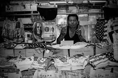 Seoul, Itaewon, july 2014. (math_bob) Tags: street portrait blackandwhite money shop shopping photography 50mm cool underwear cigarette streetphotography blues korea tourist seoul fujifilm slip monochrom mafia dollars itaewon kpop underwears xt1 streetportait seoulmafiablues