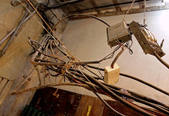 Indian Wiring (cowyeow) Tags: city india building stairs danger dark weird crazy dangerous wire funny wiring apartment indian stairwell stairway messy electricity disturbing mumbai filth colaba careless funnyindia
