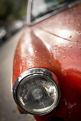 The Volvo - I (Playing_with_light) Tags: old autumn light red orange classic field car rain volvo nikon plateau montreal curves headlight depth d800 dropplets