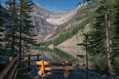 Rest Stop (dbushue) Tags: lake canada mountains nature reflections bench landscape nikon peace calm alberta tired rest lakelouise lakeagnes weary banffnationalpark canadianrockies 2014 nourish absolutelystunningscapes dailynaturetnc14