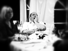 Tired Wedding Guest (ManOn Moon) Tags: wedding party food white man black face mouth reflex funny wine extreme wide yawn olympus celebration oxygen sleepy tired grimace guest exhaustion fatigue zuiko homme omd reaction awaken squirm 45mmf18 em5 olympusmagazine