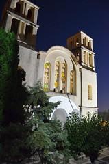 Cathedral church of Agio Kiryko-Ikaria (kutruvis nick) Tags: trees church architecture night religious island greek nikon cathedral religion ikaria hellas greece belfry nik orthodox belltowers d5100 kutruvis agiokiryko