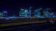 Barcode Oslo, Bjrvika (cpphotofinish) Tags: longexposure blue light sky urban color colour building cars oslo norway night canon square outside eos norge photo opera europe day foto nightshot image outdoor panoramic norwegian e nightlight barcode nordic usm dslr vann bluelight hst bilde norske farger mk3 f28l canonef bjrvika canonmkiii mklll ef14mm eos5dmk3 canonredlable dslroslofjordfjord