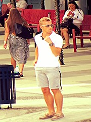 Men about town (ManontheStreet2day) Tags: sunglasses crotch twink blond shorts bulge topsiders