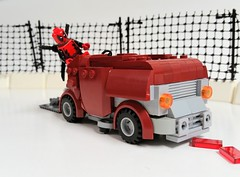 You're About to be Killed by a Zamboni! (Roy of Floremheim) Tags: lego moc build creation superheroes deadpool ice rink fence technique blood zamboni vehicle car royoffloremheim absbuilderchallenge