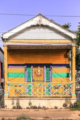 laissez les bons temps rouler! (jeneksmith) Tags: porch doorway door holiday culture fattuesday mardigras fleurdelis gold green purple paint architecture cottage house bywater bigeasy crescentcity nola neworleans louisiana canon