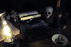 Wordsmithery (Lightcrafter Artistry) Tags: writer author typewriter vintage latenights cigarettes wine lamplight paper skull stilllife words wordsmith language magic transcendence philosophy linguistics history wordsmithery bookworm bohemian