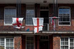 Three games (Gary Kinsman) Tags: england london wind flag flags walkway railing southwark se1 urbanlandscape councilestate 2014 englishflag socialhousing stgeorgescross clandonhouse topographics canon24105mmf4l newtopographics canoneos5dmarkii worldcup2014 canon5dmkii supportyournation boyfieldstreet