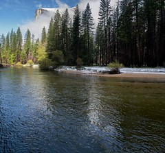 El Capitan from Cathedral Picnic Area, Yosemite (tr0mbley) Tags: california park camping snow nature water fog river landscape spring nikon scenery hiking parks merced el national yosemite april capitan 2014 d3100