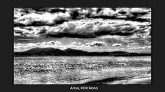 Arran, HDR Mono (Don Raider 68) Tags: sea beach clouds island mono scotland landscapes arran hdr portencross firthofclyde