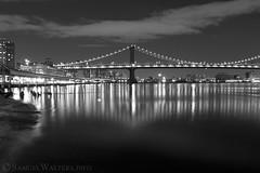 Manhattan Bridge at Night B&W (SamuelWalters74) Tags: newyorkcity manhattan financialdistrict manhattanbridge lowermanhattan