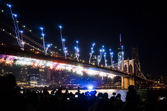Red and white shower of sparks, blue streamers, along the Brooklyn Bridge 4th of July (Dan Nguyen @ New York City) Tags: nyc newyorkcity bridge summer night fireworks dumbo brooklynbridge gothamist july4th independenceday brookyln brooklynbridgepark