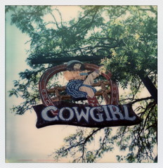 Cowgirl Sign (tobysx70) Tags: santa street new toby color tree film sign bar project mexico polaroid sx70 for restaurant south bbq tip cameras type instant cowgirl fe reverse sonar hancock nm guadalupe impossible the sx70sonar impossibleproject 061314 polawalk tobyhancock impossaroid