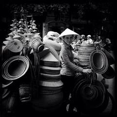 Hat Lady (anthonynicolet) Tags: blackandwhite asia hats vietnam hanoi