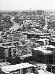 looking east from Liverpool City centre (Towner Images) Tags: liverpool merseyside aerial towner bw monochrome city cityscape urban comminity pallmall islington road east townerimages copyright mono greyscale monochromatic