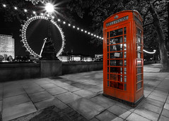 Tardis (melfoody) Tags: city longexposure red england urban london night canon britain londoneye wideangle explore ferriswheel f22 phonebox selectivecolour 1740l smallaperture explored 5dmkiii atlmospheric