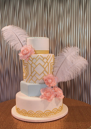 Art Deco Gatsby Peonies Wedding Cake
