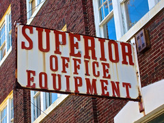 Superior Office Equipment, Lansing, MI (Robby Virus) Tags: brick sign metal wall office michigan rusty lansing superior equipment rusted