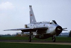 """BAC Lightning F.6 XS936 """"AS"""" taxies out for departure from Binbrook, September 1987 (stcaamekid) Tags: xs936 f6 as lightning bac binbrook 5 5sqn departure 1987 englishelectric 5squadron"""