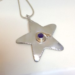 Sterling and Amethyst Star Pendant (Cyndiesmithdesigns) Tags: silver star purple handmade amethyst photostream silversmith srajd