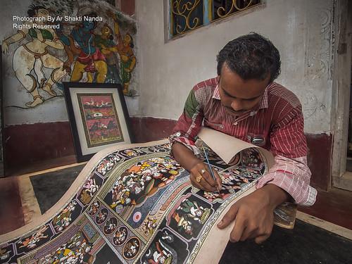 An Artisan Working on an unique art of Odisha, Patachitra @ Raghurajpur