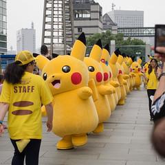 When The Pikachus Go Marching In (kasa51) Tags: street cute yellow japan walking pikachu pokemon yokohama ポケモン ピカチュウ ピカチュウ大量発生チュウ!