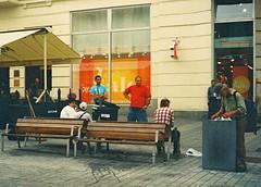 Elikon 35S - Typical Liberty Square Scene 1 (Kojotisko) Tags: street city people streets person czech streetphotography brno cc creativecommons czechrepublic streetphoto persons elikon35s эликон35с