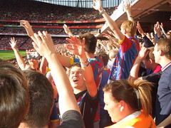Palace supporters at Arsenal (Aug 2014) (Paul-M-Wright) Tags: uk england london football crystal stadium soccer august palace emirates v match 16 fc premier arsenal league afc 2014 cpfc