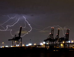 DSC_2792 (Ray Skwire) Tags: philadelphia weather port newjersey waterfront nj pa gloucester infrastructure electricity philly lightning shipping storms therebeastormabrewing
