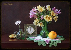 The Clock Is Ticking... (Esther Spektor - Thanks for 16+millions views..) Tags: pink flowers stilllife brown white color reflection green art texture clock apple water glass beauty leaves yellow metal fruit canon golden evening petals stem pattern purple time lace availablelight crochet stilleben poetic fantasy slice daisy vase romantic esther bouquet brass pitcher alstroemeria everydaylife doily tabletop bodegon naturemorte artisticphotography naturamorta spektor naturezamorta coth creativephotography artdigital artofimages exoticimage estherspektor