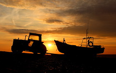 Sail Away (music_man800) Tags: uk family light sunset sea sky orange sun holiday tractor color colour reflection abandoned beach nature beautiful silhouette yellow set backlight night clouds contrast canon wonderful dark spectacular gold golden evening boat fishing pretty colours natural bright dusk united norfolk creative gimp kingdom hour editing backlit tug shape tow highlight finest natures cley cleynextthesea 700d