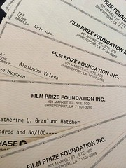 CLAP LOUDLY for our Louisiana Film Prize Top 20 filmmakers! The first round of $500 honorariums head out today. Which of these checks is the lucky one that will ensure success to our $50,000 winner?