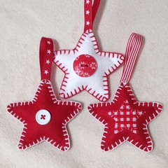 Handmade felt star Christmas decorations (bycreativehands) Tags: christmas xmas red white tree shop stars star stitch handmade buttons felt blanket button buy ribbon sell selling purchase