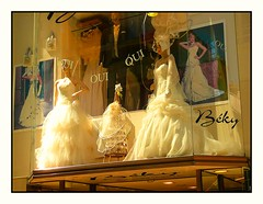 French Bridal Shop (Audrey A Jackson) Tags: wedding white france fashion shop suits mannequins veil models dresses posters bridal cherbourg headresses panasonicdmctz3