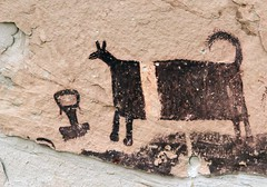 Pictographs / Temple Mountain Site (Ron Wolf) Tags: archaeology utah nativeamerican anthropology blm zoomorph pictograph templemountain anthropomorph barriercanyon