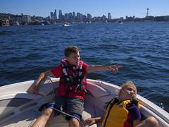 Lake Union (Sergiy Matusevych) Tags: seattle friends lake skyline kids boat george washington maya space union needle boating wa