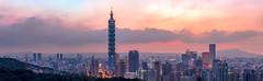 虎山幻彩夕色 (JIMI_lin) Tags: sunset panorama widescreen 101 taipei 信義區 觀音山 大冒險 寬景 虎山峰
