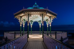 Brighton Bandstand (Kuba Abramowicz) Tags: world city uk travel blue light sea party england sky music color colour green art english water colors lines set skyline architecture night composition season lights coast stand seaside twilight nikon colorful brighton long exposure colours waterfront place angle dusk secret columns wide band scenic scene front line iso hour british 24 column f22 100 symetry bluehour 24mm nikkor bandstand popular buldings symetric kuba bulding d610 2470 abramowicz