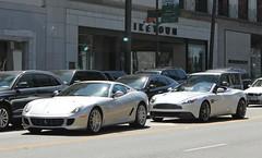 Ferrari 599 GTB Fiorano, Aston Martin Vanquish Volante (RudeDude2140a) Tags: sports car silver martin convertible ferrari exotic coupe supercar aston volante gtb vanquish 599 fiorano