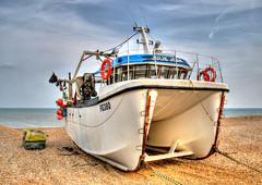 Modern Dungeness Boat (Raphooey) Tags: uk england fish beach modern canon eos boat kent fishing fisherman south shingle pebbles pebble catamaran gb dungeness marsh hull hulk wreck hdr trawler romney photomatix 70d