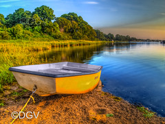 Orleans Harbor Row Boat at Sunrise (DGVARCH) Tags: ocean blue trees summer yellow orleans capecod massachusetts newengland rowboat musictomyeyes marshgrass vividstriking thelooklevel1 therlookyellow goodmorninghappinesslevel1
