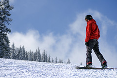 Red Snow Boarder (Mister Day) Tags: snowboarder red mountain hill