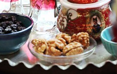 Tea, walnut, Dried cherries