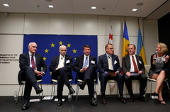 EU Amb. João Vale de Almeida; Georgia Amb. Archil Gegeshidze; Moldova Amb. Igor Munteanu; Ukraine Amb. Olexander Motsyk; Eric Rubin, Bureau of Bureau of European and Eurasian Affairs; Dr. Karen Donfried, President, the German Marshall Fund U.S.