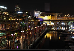 Darling Harbour @ Night, Sydney, Australia (JH_1982) Tags: street new travel light travelling wales night canon dark eos lights evening bay noche harbor king darkness nacht harbour south sydney australia illuminated entertainment wharf nsw australien traveling tamron darling nuit complex notte australie 18mm  cockle       270mm  60d   sdney